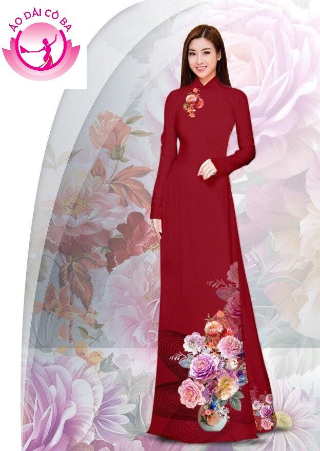 Áo dài truyền thống in hoa cẩm chướng - Đỏ mận