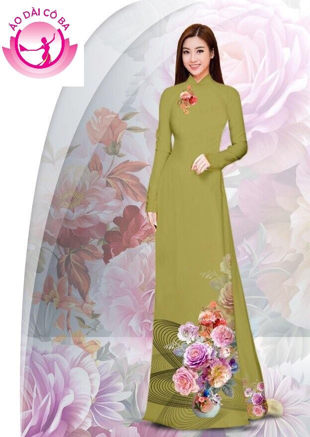 Áo dài truyền thống in hoa cẩm chướng - Nâu vàng