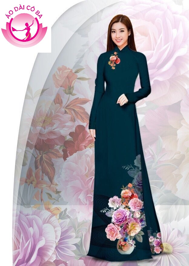 Áo dài truyền thống in hoa cẩm chướng - Xanh đen