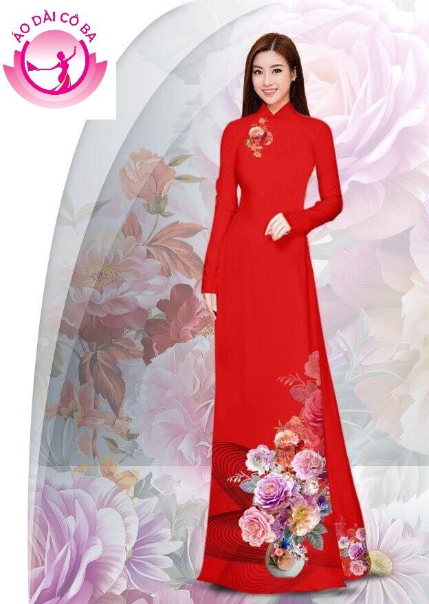 Áo dài truyền thống in hoa cẩm chướng - Đỏ