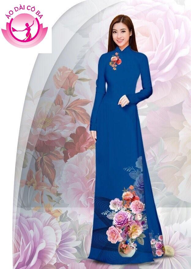 Áo dài truyền thống in hoa cẩm chướng - Xanh thẩm