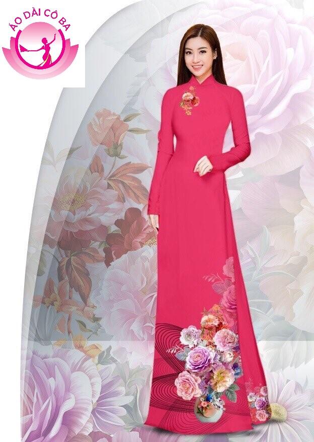 Áo dài truyền thống in hoa cẩm chướng - Hồng