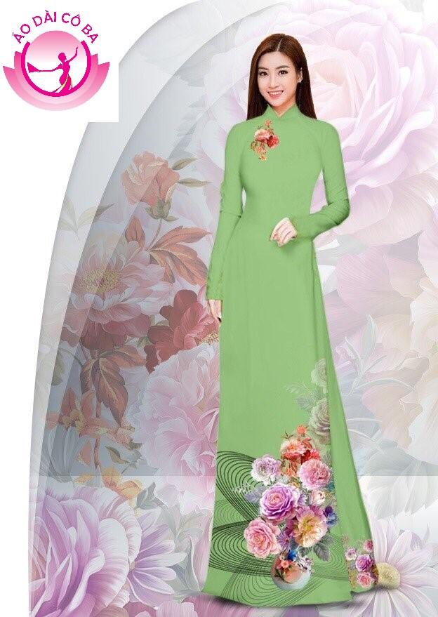 Áo dài truyền thống in hoa cẩm chướng - Xanh non