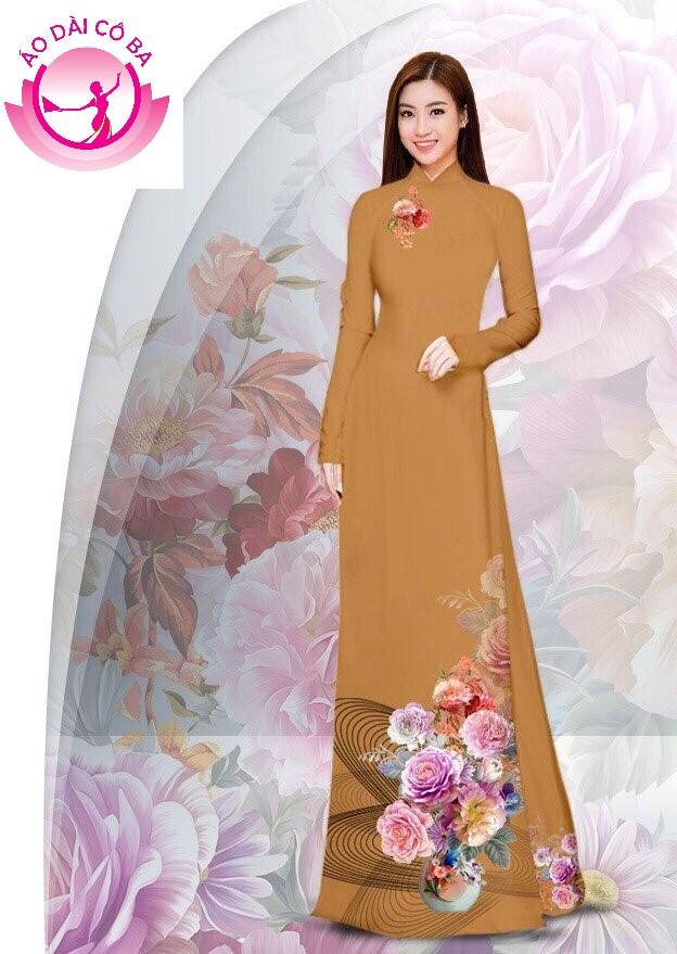 Áo dài truyền thống in hoa cẩm chướng - Nâu