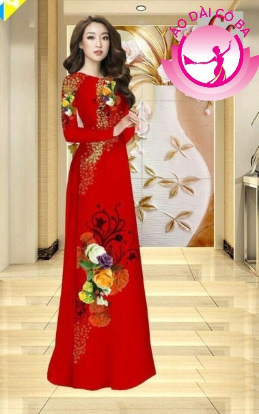 Áo dài truyền thống in hoa hồng 3D mẫu 8