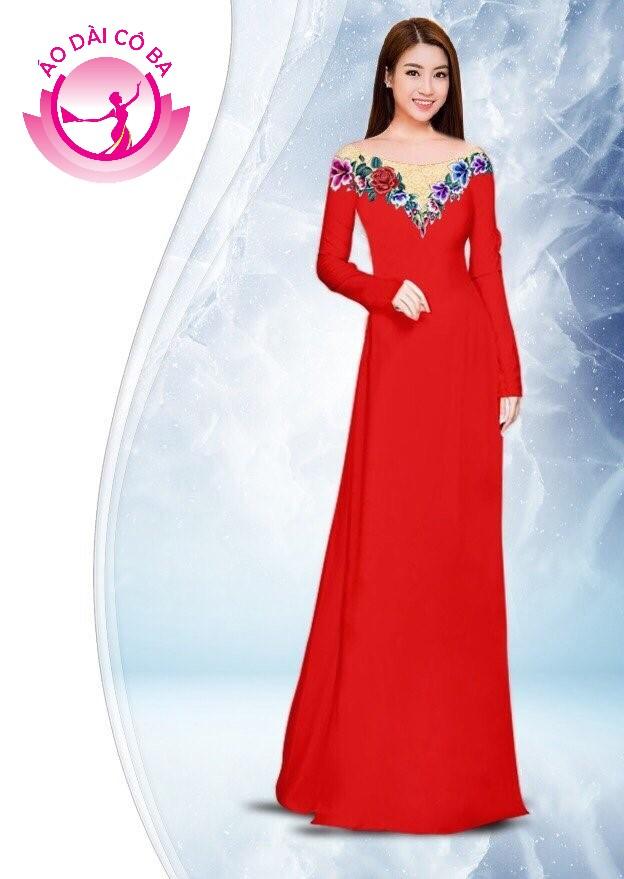 Áo dài truyền thống in hoa hồng mẫu mẫu AD4799