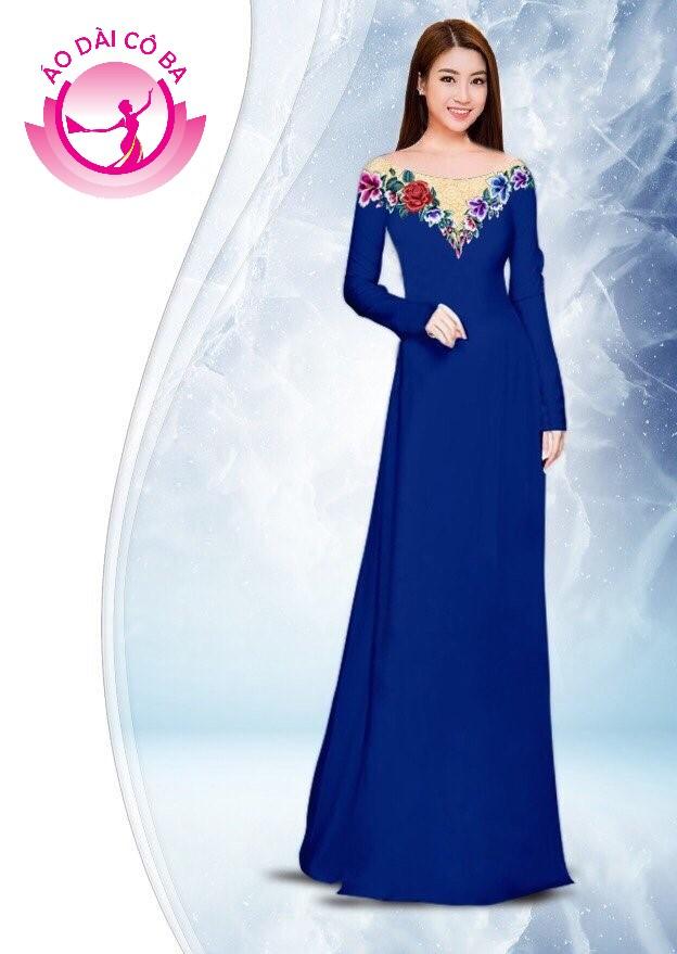 Áo dài truyền thống in hoa hồng mẫu 1.11