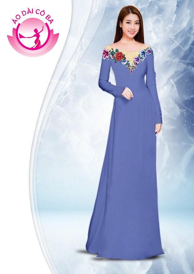 Áo dài truyền thống in hoa hồng mẫu 1.5