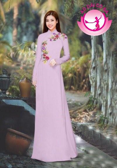 Áo dài truyền thống in hoa hồng mẫu 10