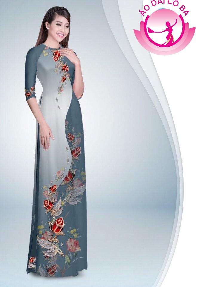 Áo dài truyền thống in hoa hồng mẫu 12
