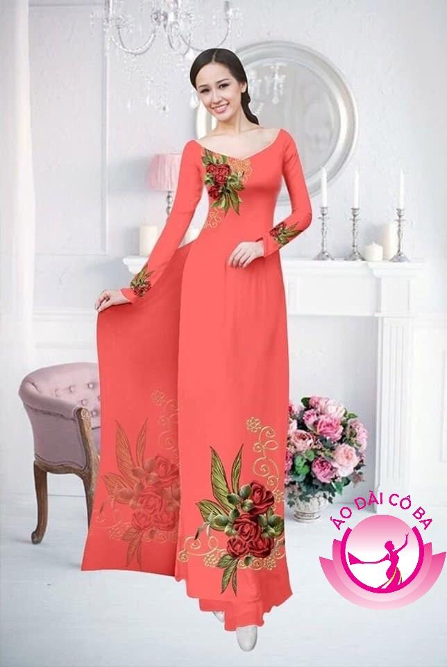 Áo dài truyền thống in hoa hồng mẫu NDAD 1244