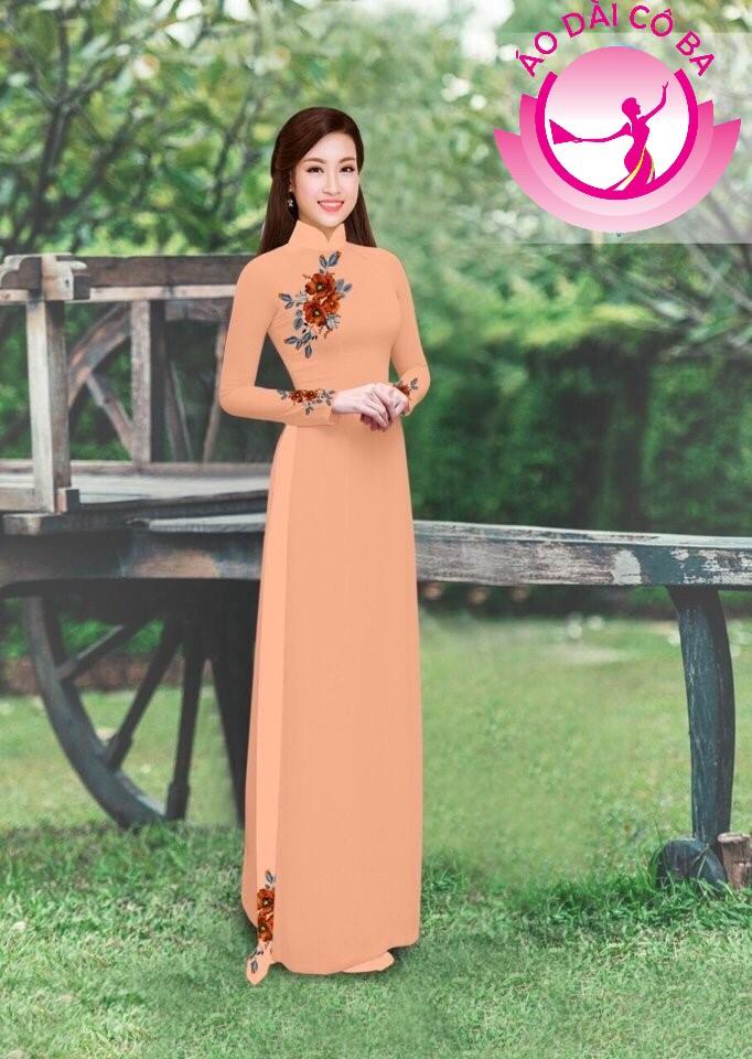 Áo dài truyền thống in hoa hồng mẫu 4