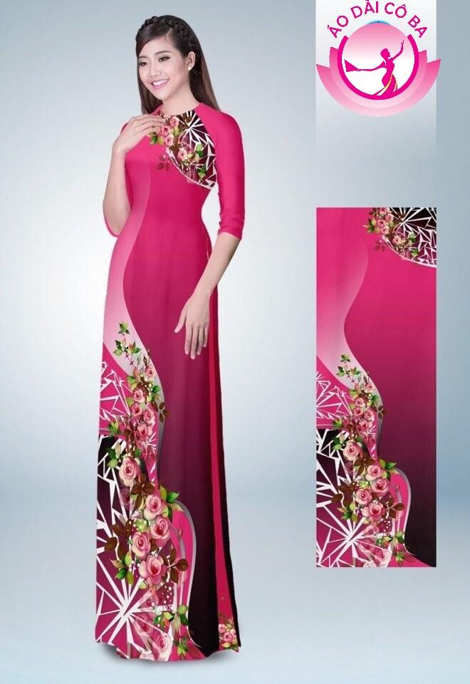 Áo dài truyền thống in hoa hồng mẫu 6