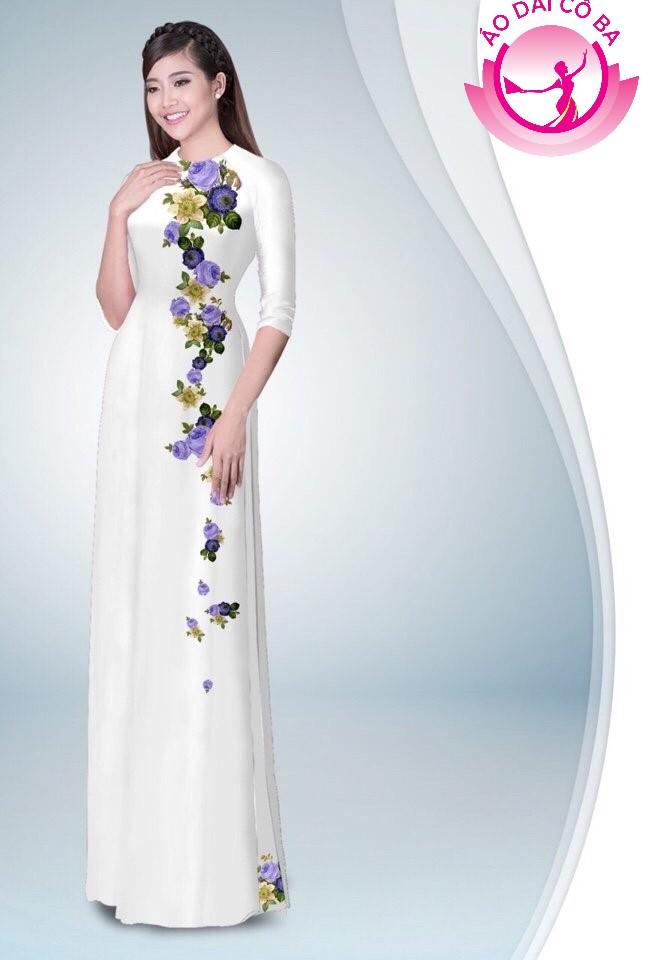 Áo dài truyền thống in hoa hồng mẫu 7