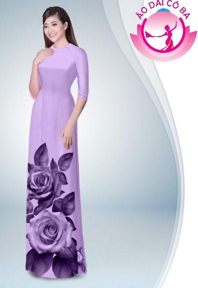 Áo dài truyền thống in hoa hồng mẫu 9