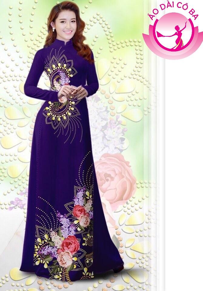 Áo dài truyền thống in hoa hồng trên dưới mẫu 8