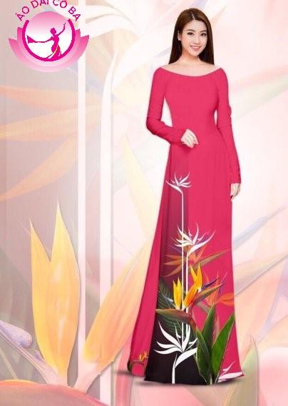 Áo dài truyền thống in hoa lá mẫu 2