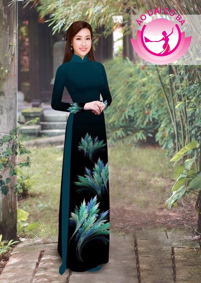 Áo dài truyền thống in hoa lá mẫu 4