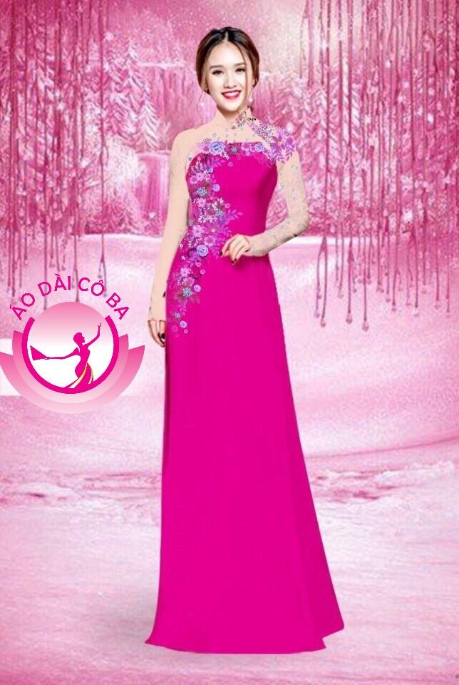 Áo dài truyền thống in hoa lá mẫu 5