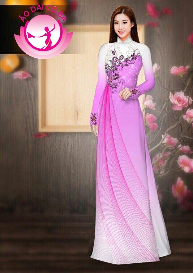 Áo dài truyền thống in hoa lá mẫu 6