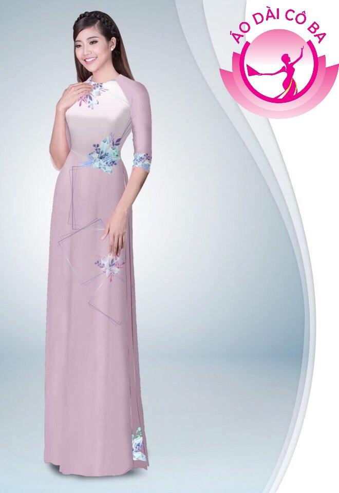 Áo dài truyền thống in hoa lập thể mẫu 7