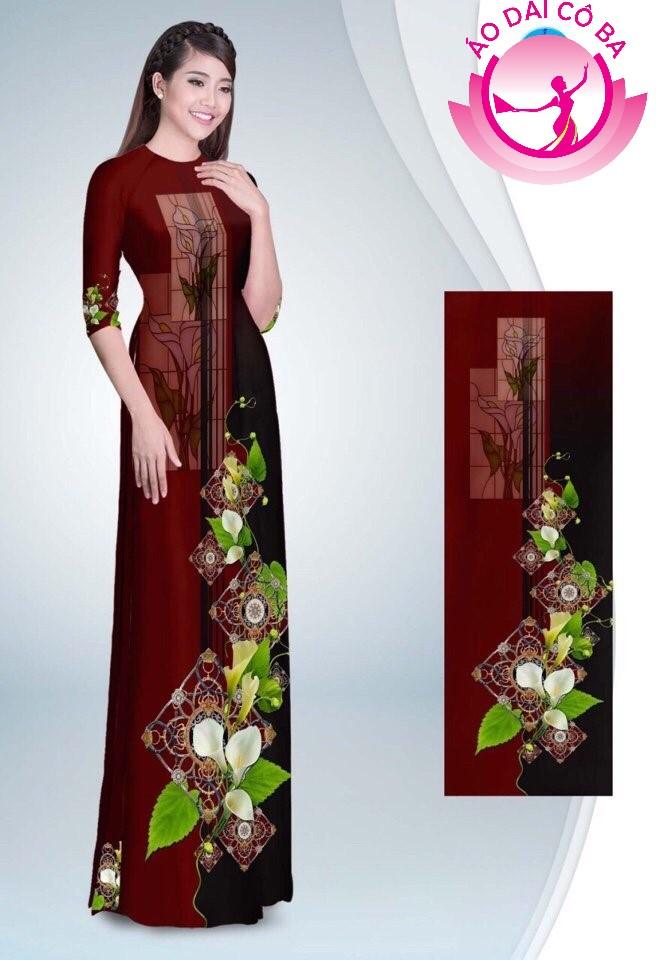 Áo dài truyền thống in hoa loa kèn mẫu 1