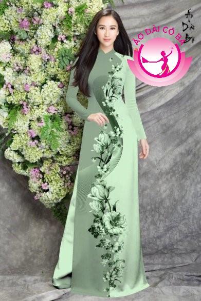 Áo dài truyền thống in hoa mẫu 9