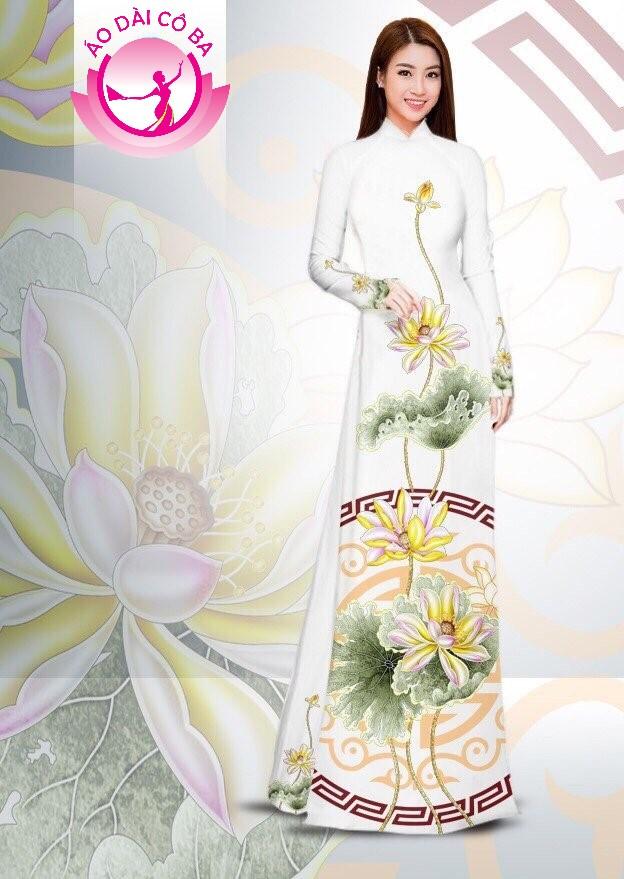 Áo dài truyền thống in hoa sen mẫu AD B3374