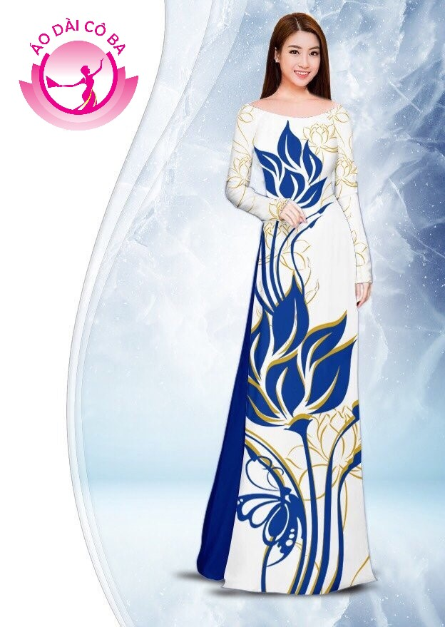Áo dài truyền thống in hoa sen mẫu 2.1