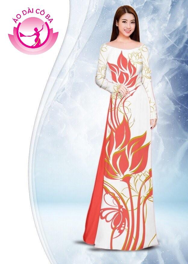 Áo dài truyền thống in hoa sen mẫu 2.10
