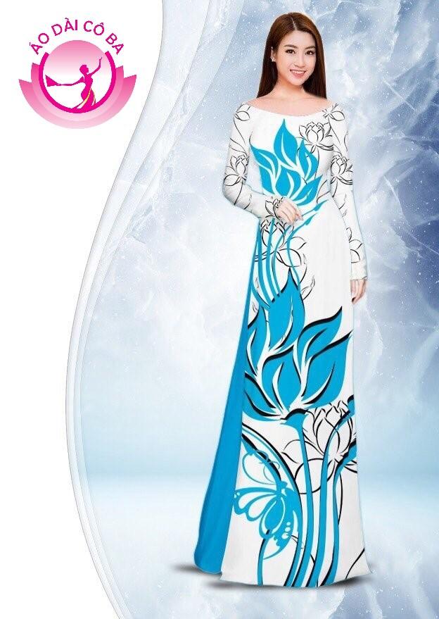 Áo dài truyền thống in hoa sen mẫu 2.2