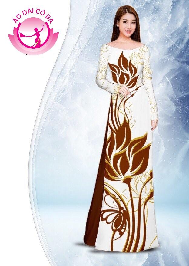 Áo dài truyền thống in hoa sen mẫu 2.3