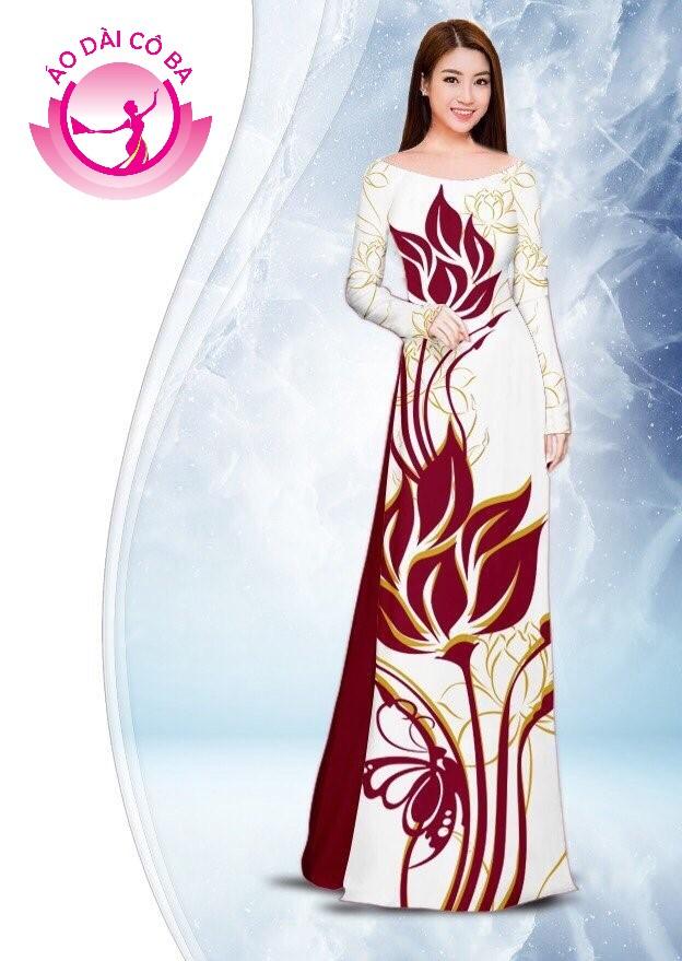 Áo dài truyền thống in hoa sen mẫu 2.5