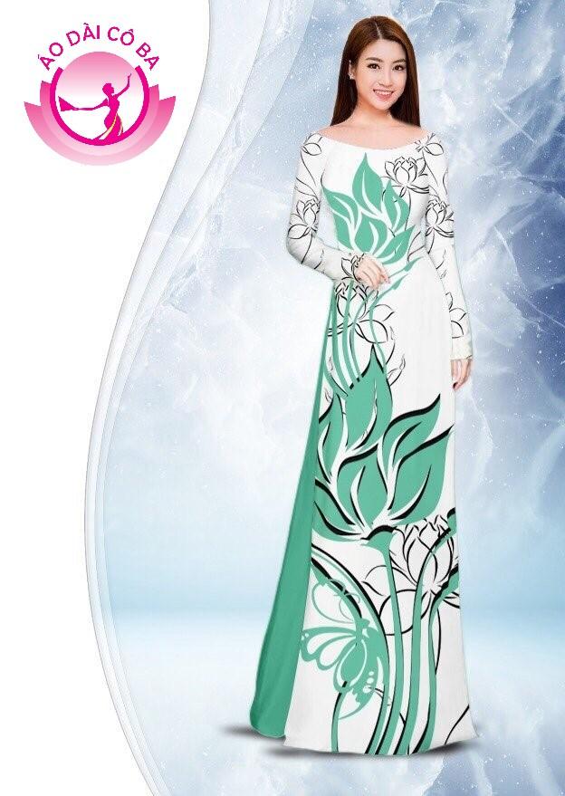 Áo dài truyền thống in hoa sen mẫu 2.6
