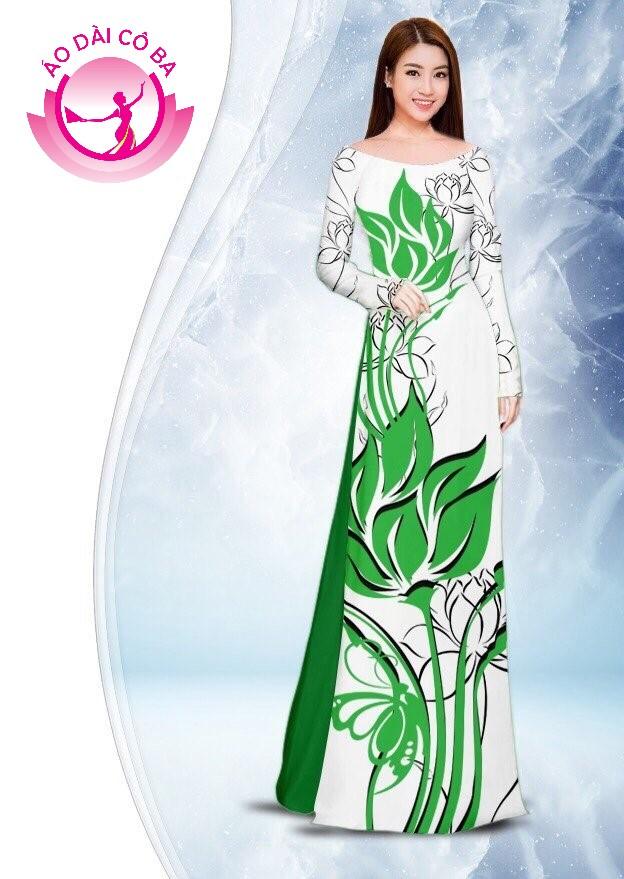 Áo dài truyền thống in hoa sen mẫu 2.7