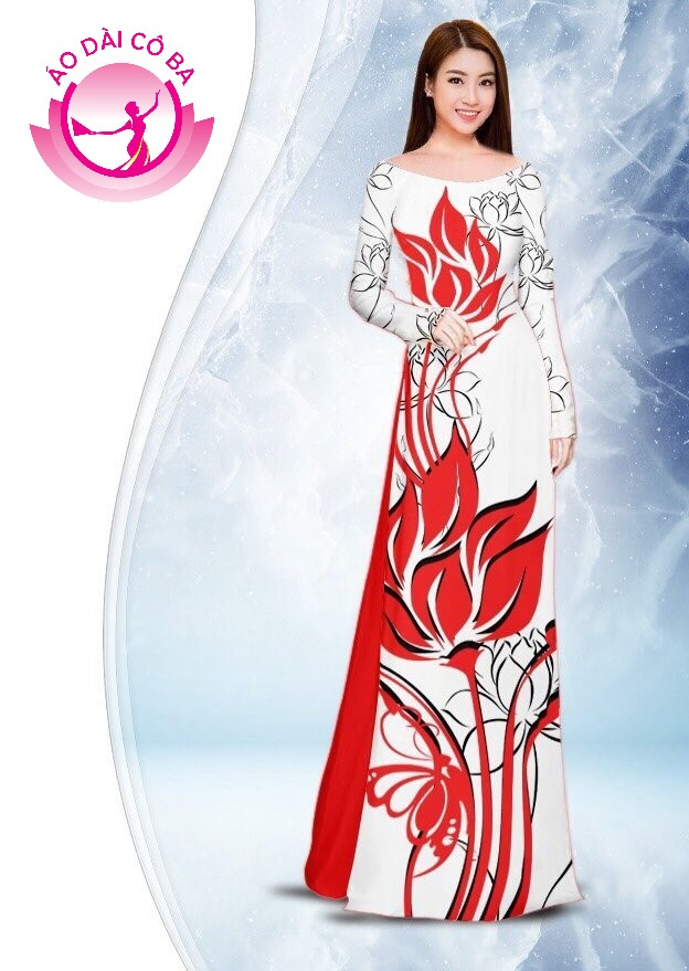 Áo dài truyền thống in hoa sen mẫu 2.8