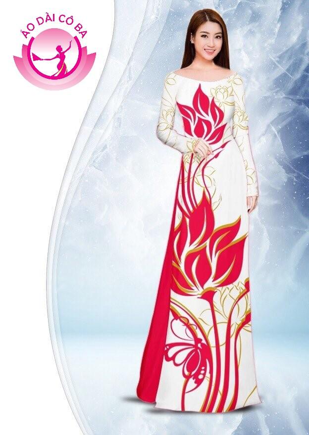 Áo dài truyền thống in hoa sen mẫu 2.9