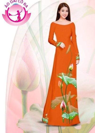 Áo dài truyền thống in hoa sen mẫu 3