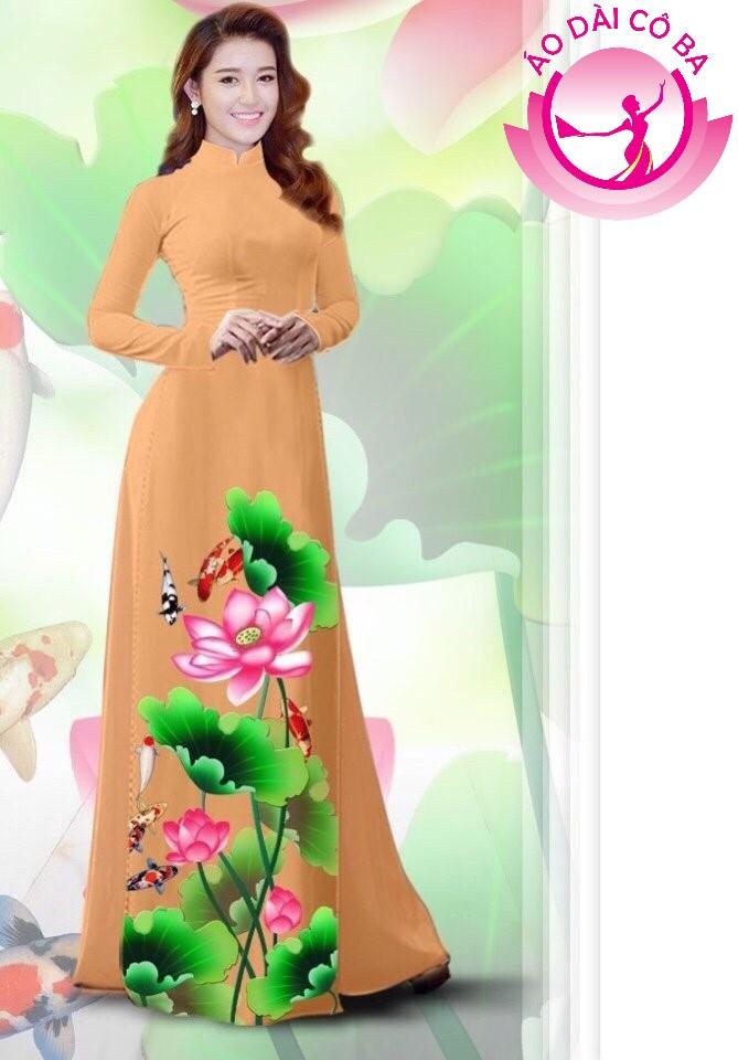 Áo dài truyền thống in hoa sen mẫu 5