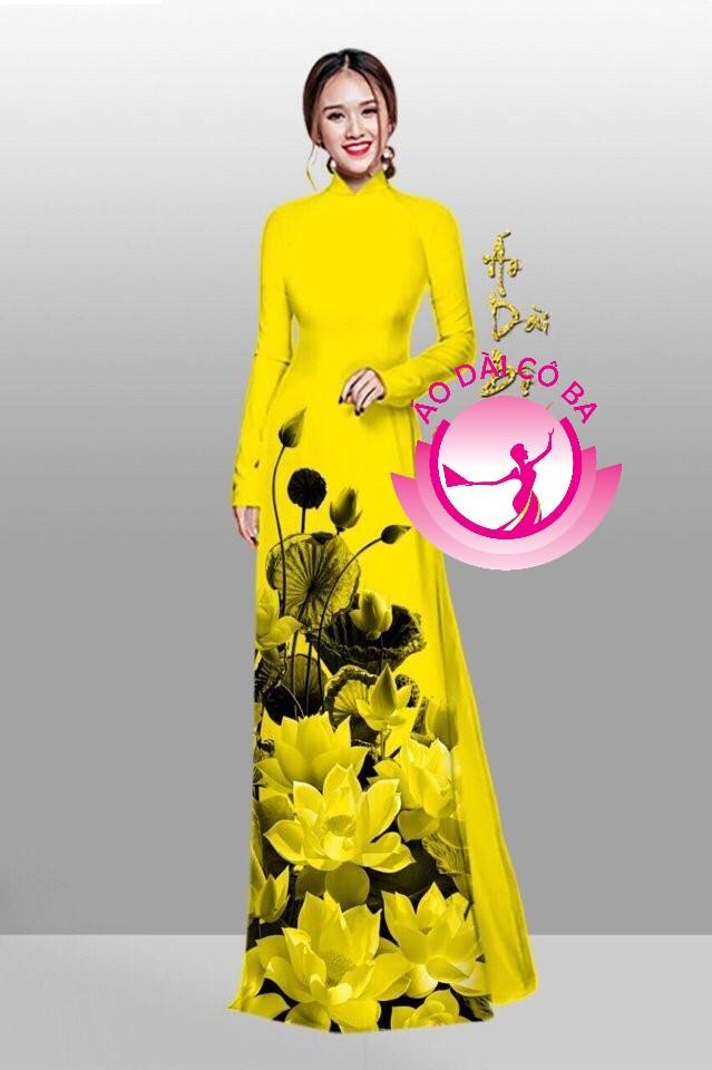 Áo dài truyền thống in hoa sen mẫu 6