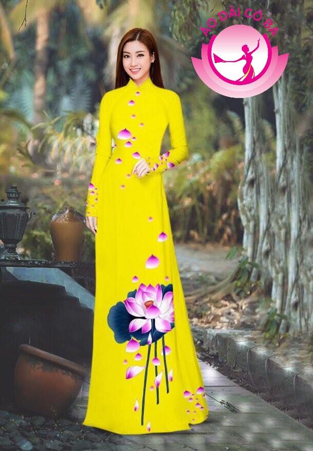 Áo dài truyền thống in hoa sen mẫu 7