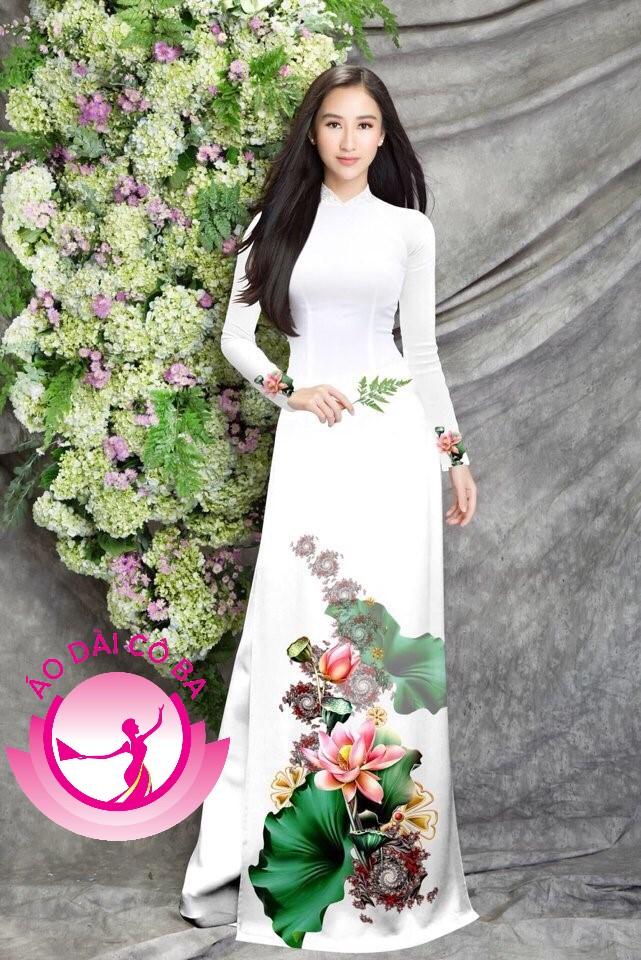 Áo dài truyền thống in hoa sen mẫu 8