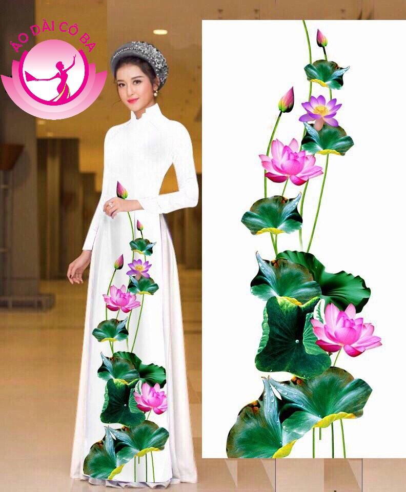 Áo dài truyền thống in hoa sen mẫu 9
