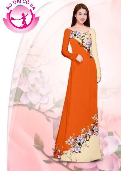 Áo dài truyền thống in hoa trên dưới mẫu 29