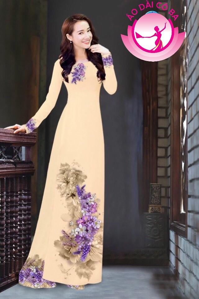 Áo dài truyền thống in hoa trên dưới mẫu 11