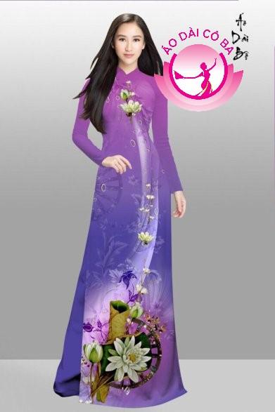 Áo dài truyền thống in hoa trên dưới mẫu 12
