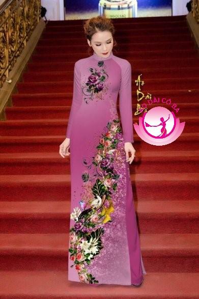 Áo dài truyền thống in hoa trên dưới mẫu 13