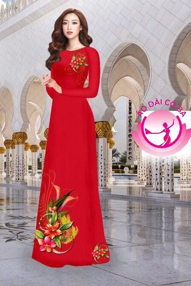 Áo dài truyền thống in hoa trên dưới mẫu 14