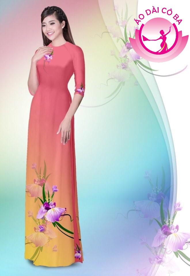 Áo dài truyền thống in hoa trên dưới mẫu 15