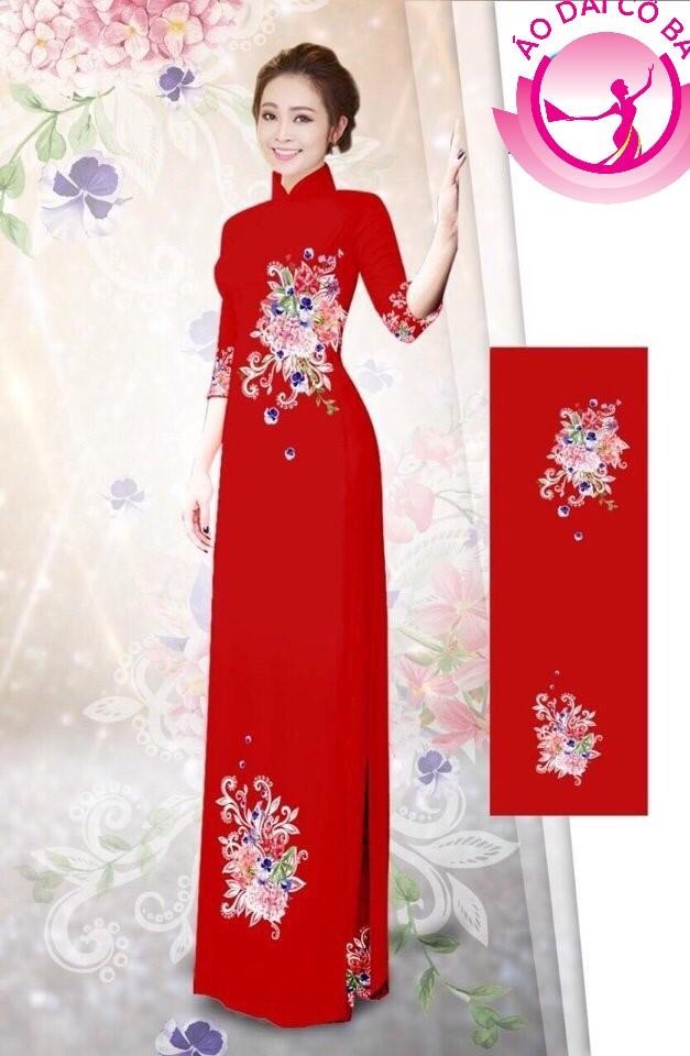 Áo dài truyền thống in hoa trên dưới mẫu 33
